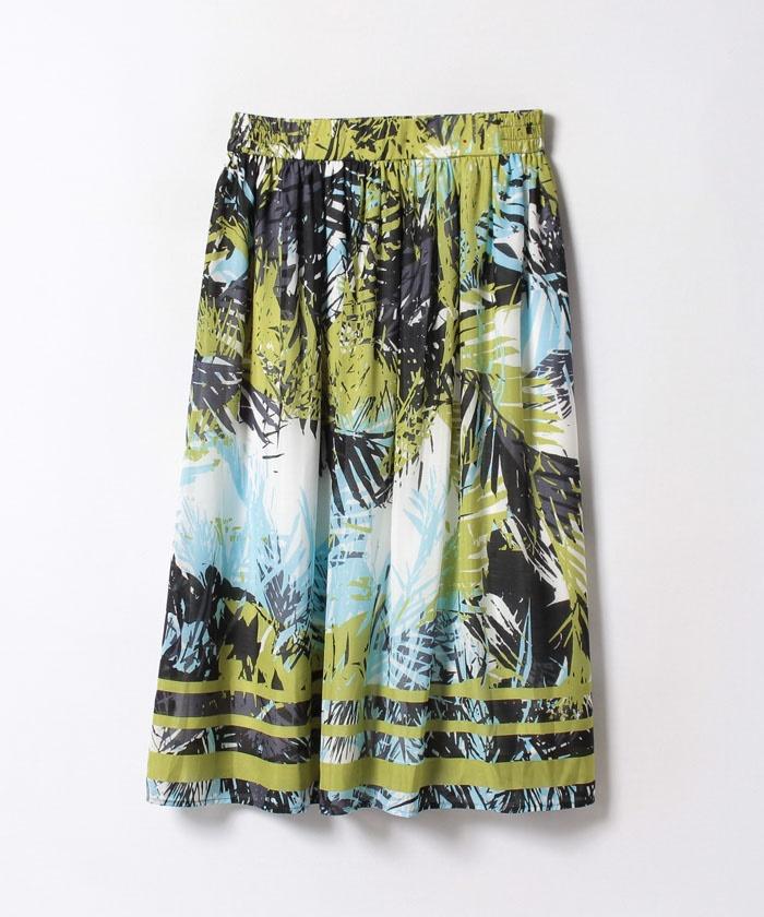 パネルリーフプリントギャザースカート
